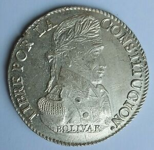 BOLIVIA 1838 8 SOLES PTS LM. Silver Coin. UNC DETAILS - scrached