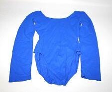 NEW Danskin Leotard Blue Long Sleeve One Piece Active Wear Stretch Women Small