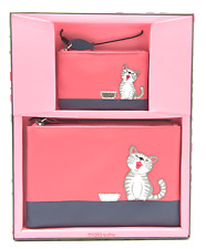 MALA Leather Ziggy Cat Pink Gift Set with Cat Coin Purse & Make Up Bag Gift Box