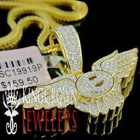 Real Yellow Gold Silver Bentley Pendant Simu Diamond Flying B Logo Wing Charm