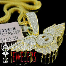 Real Yellow Gold Silver Bentley Pendant Simu Diamond Flying B Logo Wing Charm