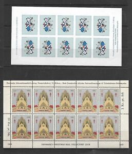 Denmark 1944, 1952 Tuberculosis Christmas Sheets (see Scans) Perf and Imperf