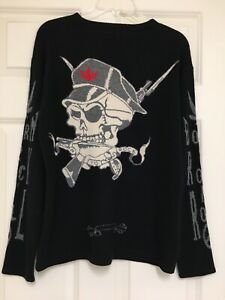 amal guessous Cashmere Black Skull Born To Rock & Roll Weed Size M RARE