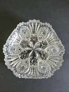 Antique Star Cut Crystal Glass Dish Six-Pointed Star Pentacle Leaves