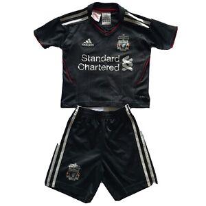 Liverpool FC Baby Toddlers Grey Adidas Football Kit Shirt & Shorts Age 1-2 Years