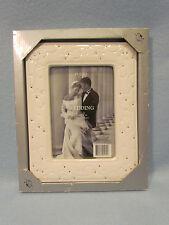 Furio Home White Porcelain Wedding 5x7 Picture Photo Frame Easel Table Top-NIB
