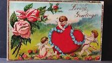 Vintage Valentine Post Card Loving Greetings Heart Cupids Forget Me Nots Roses