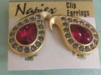 Retro 1980s Napier Red Paisley Rhinestone Earrings NEW ON ORIGINAL TAG