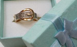 Diamond Belt Buckle Design 18k Gold 925 Sterling Silver Ring - Size 7