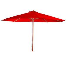 Parasol en bois, parasol de jardin Florida, parasol de marché, 3,5m ~ bordeaux