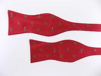 "TOMMY HILFIGER $70 Red Novelty MEN WIDTH 2.5"" 100% Silk Bow Tie ADJUSTABLE E14"
