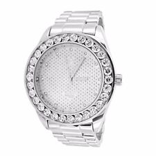 Techno Pave Presidential Watch Simulated Diamond Round Face Analog Custom Style