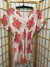 """FRENCH CONNECTION"" SIZE ""S"" LADIES COTTON RED/WHITE BOHO STYLE LONG TOP"