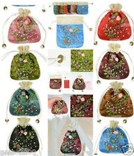 HOLESALE 10PCS CHINESE EMBROIDERED FLOWER SILK GIFT COIN BAGS POUCHES
