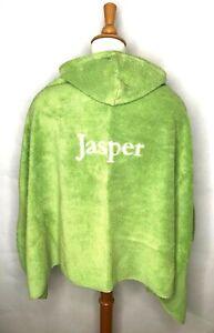 Pottery Barn Kids Green Hooded Cotton Bath Beach Towel Embroidered Mono Jasper