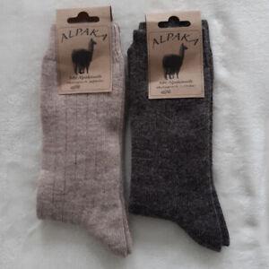 2 Pair Women's Soft Alpaca Socks Extra Soft 100% Wool Light Dark Braun 35 - 42