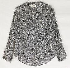 HOLDING HORSES ANTHROPOLOGIE Blouse Top Floral Zellige Button Down Black Size 2