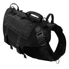 Black Dog Vest Harness K9 Dogs Training Molle Service Vest L for Large Dogs