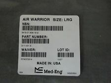 MED-ENG AIR WARRIOR  Micro climate cooling vest / garment LARGE