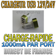 12V/24V MINI CHARGEUR ADAPTATEUR ALLUME CIGARE 3 PORTS USB 1000mA PAR PORT - HOT
