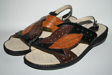 OTTER Fashion Designer femmes womans Sandales Plage Chaussures en Cuir Marron UK 7