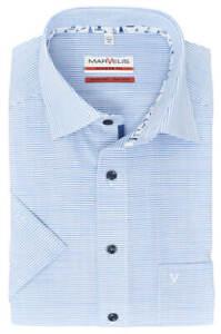 Marvelis Herren Businesshemd Modern Fit Kent Kragen Kurzarm Gestreift Blau