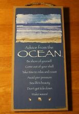 ADVICE FROM THE OCEAN - MAKE WAVES - Nautical Blue Sign Beach Home Decor NEW