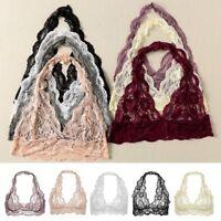 Women's Lace Sexy Halter Vest Open Slit Cut Out Plunging Bralette Bras Crop Tops