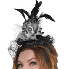 VOODOO SILVER SKULL~NET~CRYSTAL~FASCINATOR~HEADBAND~PARTY~COSPLAY~FREE PP UK