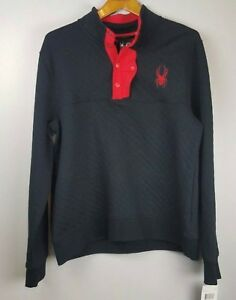 Spyder Men's Quilted Pullover Sweater Ski Black Red $149 NWT Size L