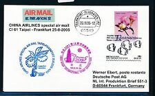 65528) Cina Air SF a Taipei Taiwan-Francoforte 25.8.2005 SP Card Fish, Orchid?