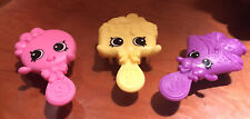 """Mini Doll Accessories Hair Brushes Lot Of 3 Yellow, Pink, Purple Shopkins 3"""""""