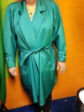 Ladies Vintage Green J. Gallery Rain Trench Coat Sz 11/12 with belt!!
