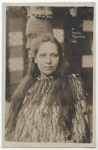 1909 Beautiful Maori Woman in Native Costume, Totem - REAL PHOTO New Zealand
