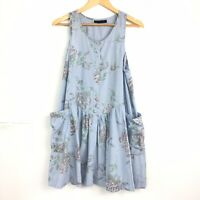 Topshop Smock Dress Trapeze ALine Blue Chambray Floral Boho Festival Pockets 10