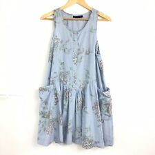 Topshop Smock Dress Trapeze ALine Blue Chambray Floral Boho Festival Pockets 10