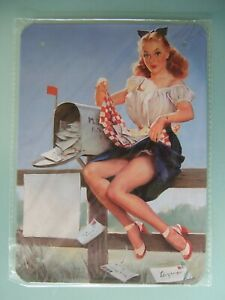 Pin Up girl metal wall plaque retro and lovely, factory sealed new old stock.