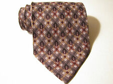 JOSEPH ABBOUD NECK TIE. BROWN & GRAY Pattern. 100% SILK. MADE IN ITALY. WOVEN