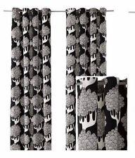 IKEA Kajsamia BLACK White Tree Sealed Pair Curtain Panel Grommet Heavy Canvas 2
