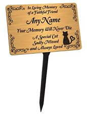 Personalised Cat Memorial Plaque & Stake. Brushed Gold Waterproof garden grave