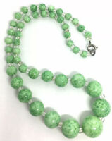 Gorgeous Green Peking Glass Beaded Necklace Art Deco Vintage Jewelry