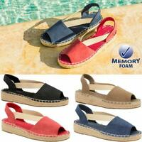 Ladies Low Wedge Heel Casual Summer Espadrille Strappy Beach Sandals Shoes Size