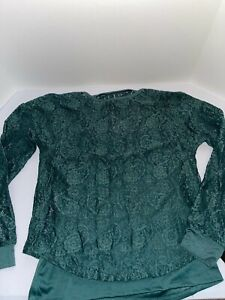 Art Class Girl's Size L (10-12) Long Sleeve Lace T-Shirt With Cami - Green