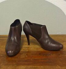 J CREW Warm Redwood Brown Leather Booker Booties Ankle Boots - 10