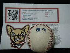 Oklahoma City Dodgers at El Paso Chihuahuas game used MLB baseball w/ticket