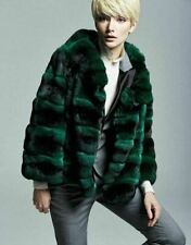 Emerald Green Chinchilla Fur Jacket 4/5 Sleeves Waist Length Custom Orders