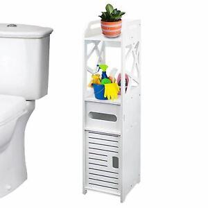 Zimtown Modern Bathroom Cabinet Storage Cupboard Wooden Slim Shelf Cupboard Whit