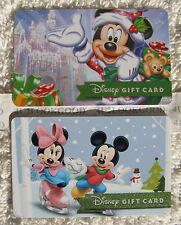 Disney Gift Cards 2 CHRISTMAS Santa Mickey Minnie Snowman Ice Castle New 0 Value