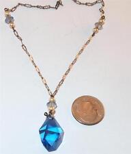 ANTIQUE ART DECO STERLING SILVER BLUE GLASS DROP PENDANT LAVALIERE NECKLACE