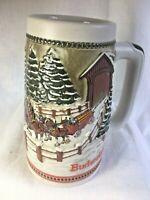 Budweiser Clydesdale 1984 Holiday Stein Mug Beer Ceramarte Brazil Pint Vintage